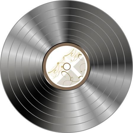 vinyl disk player: retro vintage vinyl record isolated