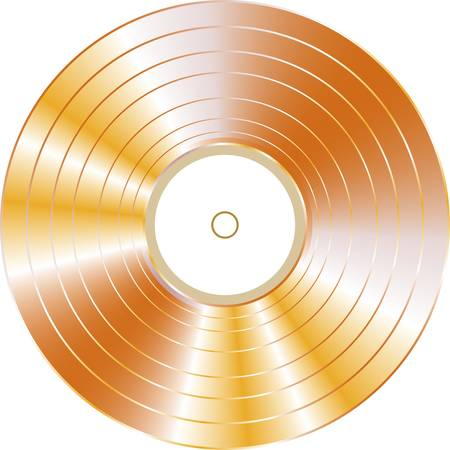 gold vinyl record isolated on white background.  Illustration