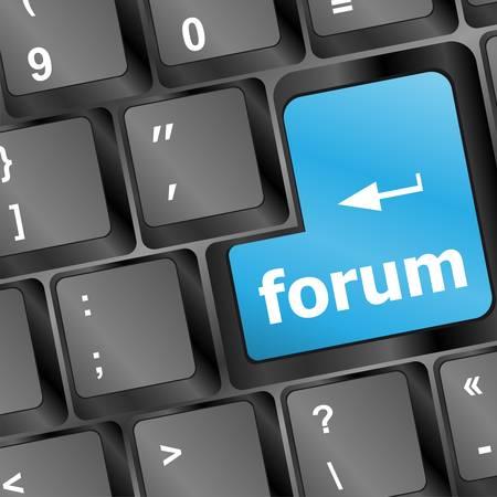 Computer keyboard -  blue key Forum, internet concept Stock Vector - 15761242