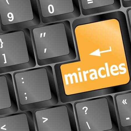 Computer keyboard with miracles text on key Vector