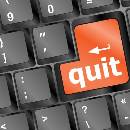 quit button on black internet computer keyboard  Vector