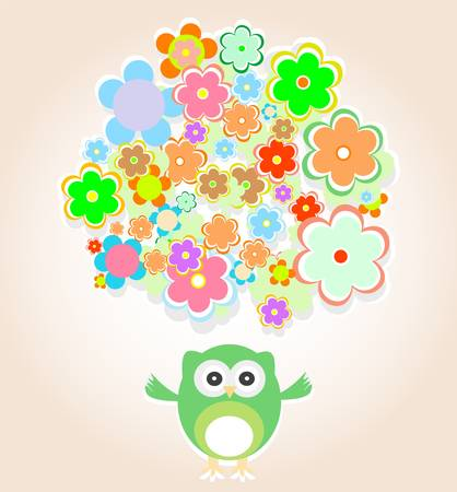 cute owl with many flowers - baby boy invitation card Vector