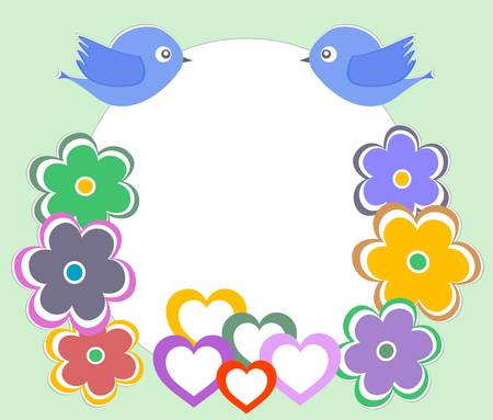 illustration of a cute forest bird and home flowers Vector
