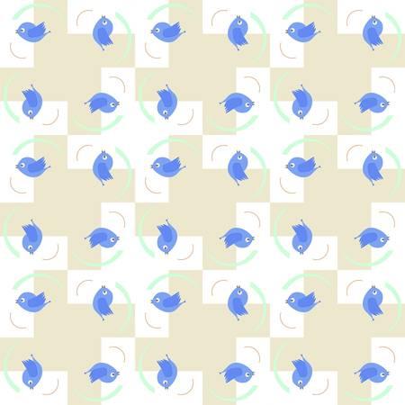 Blue birds seamless pattern - baby boy holiday card Stock Vector - 15761258