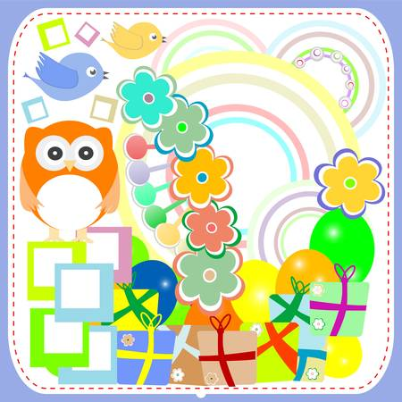 birthday party card with cute birds and owl on gift boxes Stock Vector - 15803731