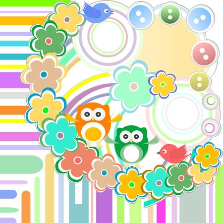 Cute bird and owl in abstract garden Vector