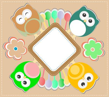 Template greeting card with owls and flowers Vector