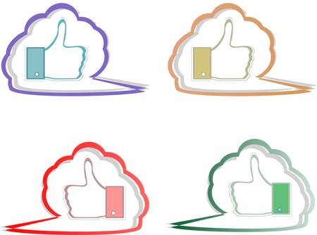 Like labels stickers set on abstract speech bubbles Stock Vector - 15873662