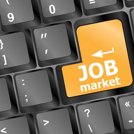 Job market key on the keyboard Vector