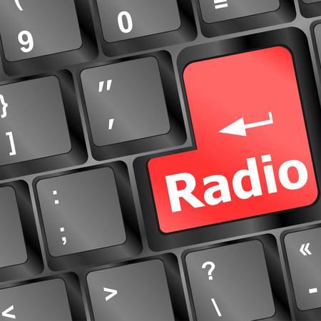 omroep: Radio knop op een zwarte computer toetsen bord