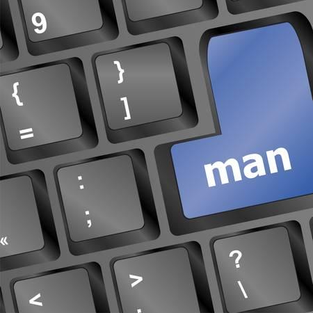 backspace: man blue key on keyboard laptop computer Illustration