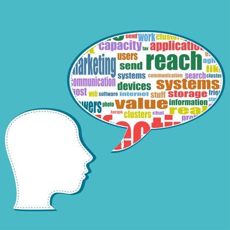 ビジネスマン ヘッド、キャリア開発を単語クラウド ビジネス コンセプト