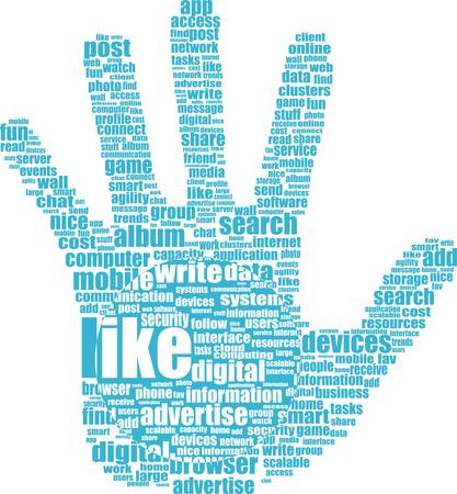 Lke hand symbol with tag cloud of word Stock Vector - 15917425