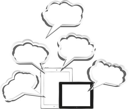 Tablet pc set with abstract cloud sign Vector