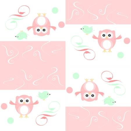 Seamless colourful owl and birds pattern for kids Vector