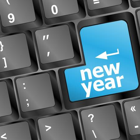 Computer Keyboard with Happy New Year 2013 Key Illustration