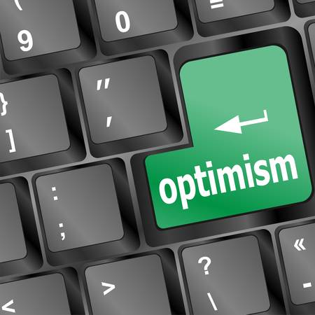 optimism button on the keyboard close-up Vector