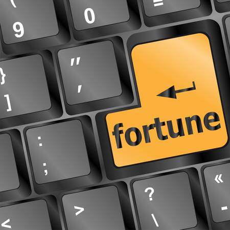 fortune concept: Foortune for investment concept with a orange button on computer keyboard
