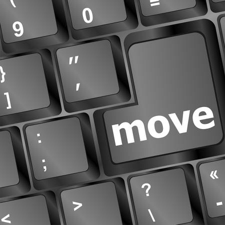 Move button word on black keyboard Vector