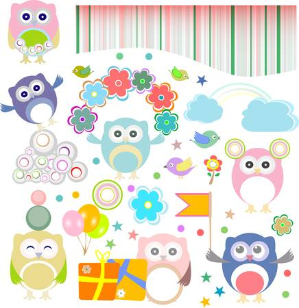 Birthday party elements with funny owls.  Vector