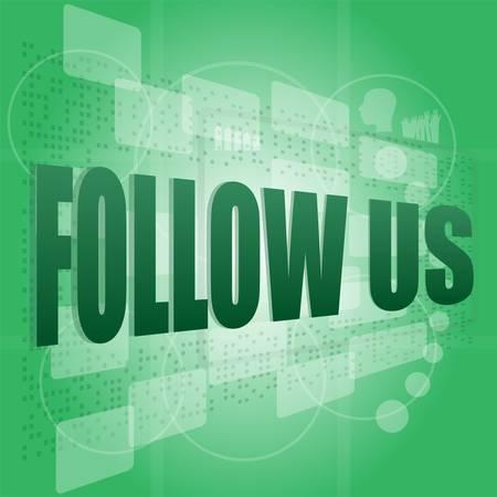 word follow us on digital background on digital screen Stock Vector - 16210133