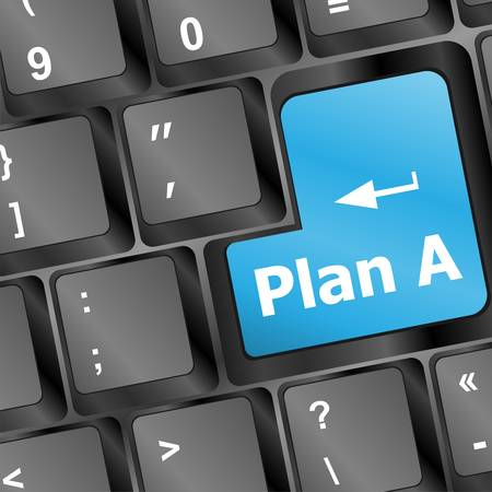 Plan A key on computer keyboard - internet business concept Vector