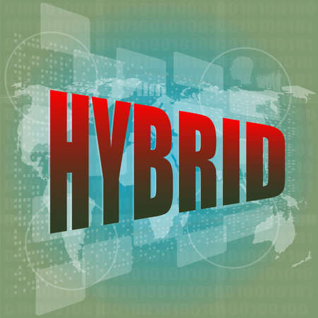 The word hybrid on digital screen, business concept Stock Photo - 16210192