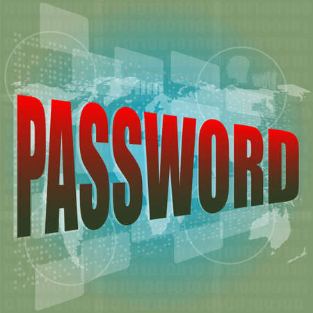 The word password on digital screen, business concept photo
