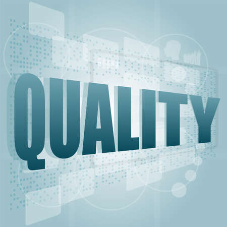 words quality on digital screen, business concept photo