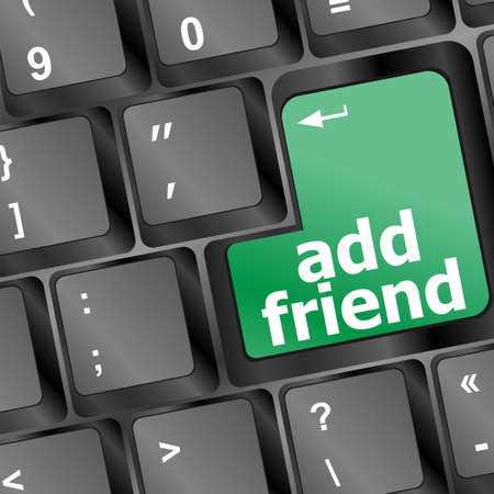 Keyboard with green add as friend button, social network concept Stock Photo - 16352307