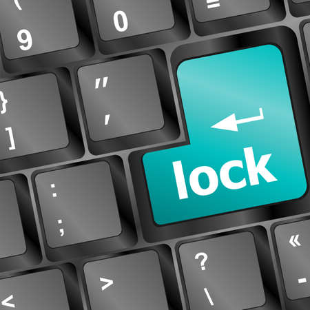 lock written in white on blue computer keys Stock Photo - 16352305