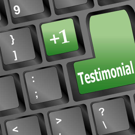 credentials: Testimonials computer key shows recommendations and tributes online