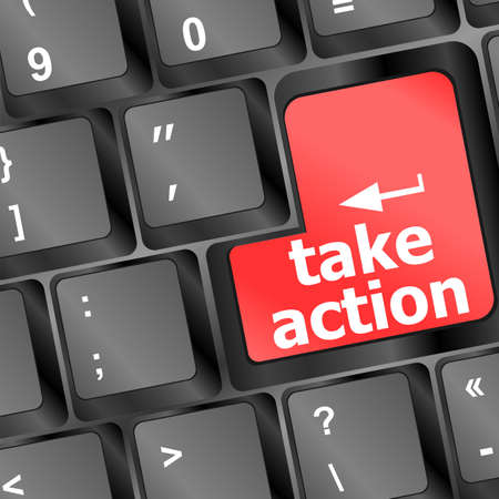 take action: Take action red key on a computer keyboard, business concept Stock Photo