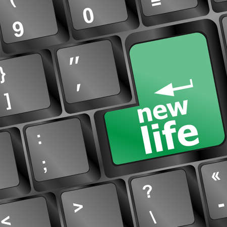 black keyboard with new life words Stock Photo - 16468790