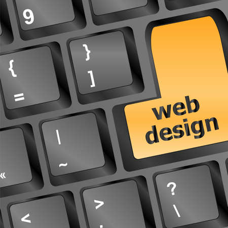 Web design text on a button keyboard Stock Photo - 16468778
