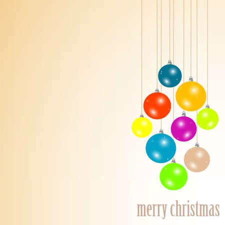 Merry christmas colorful balls hanging photo