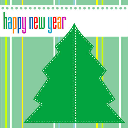 Merry christmas and happy new year tree on green background photo