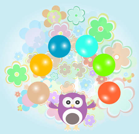 Doodle owls with balls on floral background photo