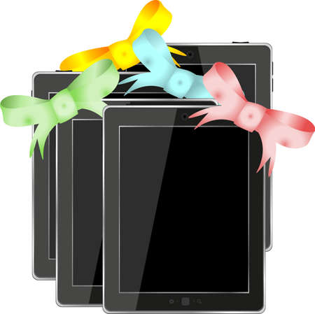 Tablet pc set with ribbons and bow isolated on a white background photo