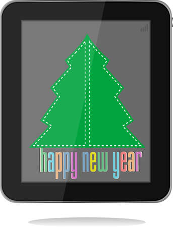 christmas and new year tree on tablet pc photo