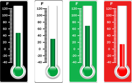 celsius: Red, black, white and green thermometers set isolated
