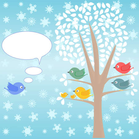 template of christmas card for xmas design with birds photo