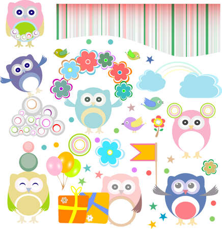 Set of birthday party elements with owls Stock Photo - 16482084