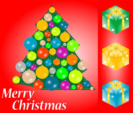 red christmas card with gift, tree and bauble. happy new year photo