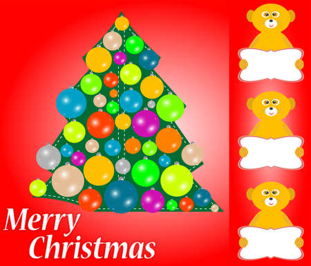 Christmas tree with balls and lemur with blank card. new year invitation photo