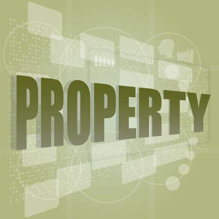 originator: words property on digital screen, security concept Stock Photo