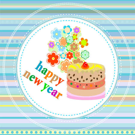 flowers and christmas greetings, new year card with a cake photo