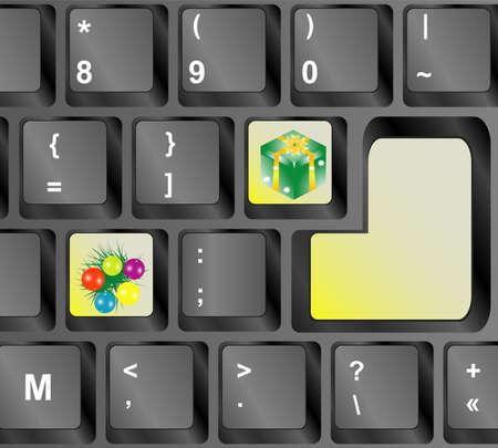 Computer keyboard with Christmas keys - holiday concept Stock Photo - 16525567