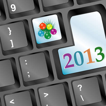 Happy new year word on keyboard button and fir and balls photo