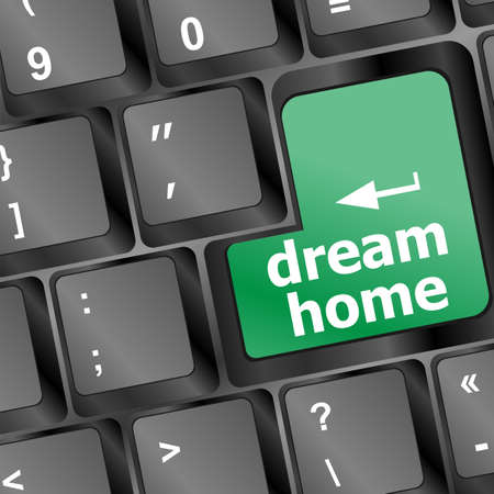 Computer keyboard with dream home key - technology background photo